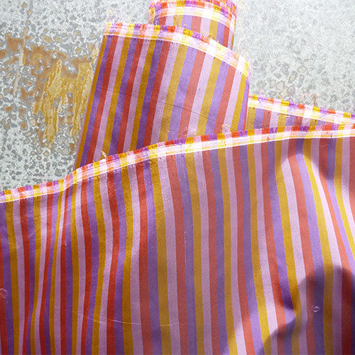 rayon bayadere stripe purple yellow