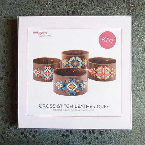 red gate stitchery leather cuff cross stitch kit