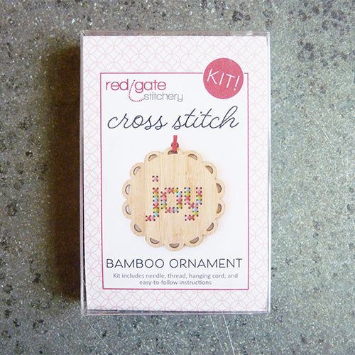 red gate stitchery bamboo cross stitch ornament kit
