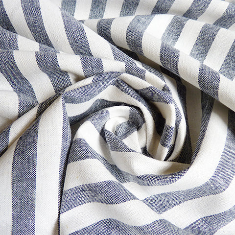 Robert Kaufman : Essex Chambray Linen - Indigo Stripe