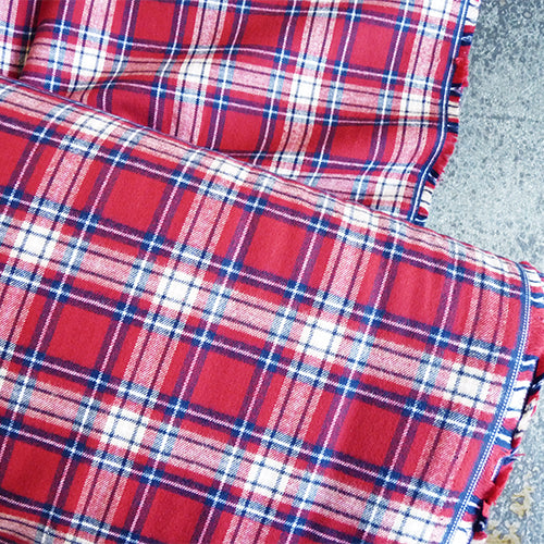 cotton plaid flannel red white blue