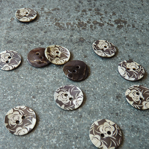 etched floral shell button