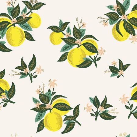 Cotton + Steel : Rifle Paper Co. Primavera - Citrus Blossom Lemon Metallic quilting cotton fabric