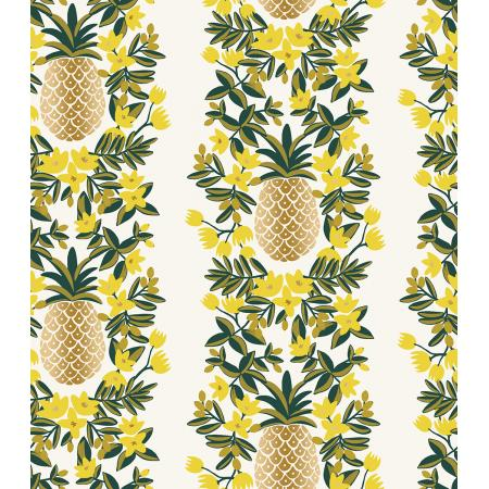 Cotton + Steel : Rifle Paper Co. Primavera - Pineapple Stripe - Cream Metallic quilting cotton fabric