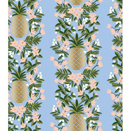 Cotton + Steel : Rifle Paper Co. Primavera - Pineapple Stripe - periwinkle blue  Metallic quilting cotton fabric