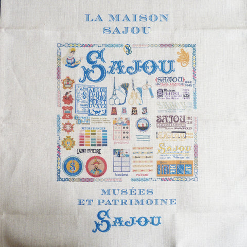 sajou linen tea towel printed with maison sajou motif