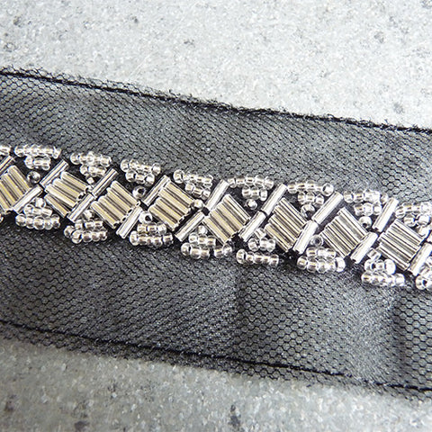 beaded trim silver on black mech