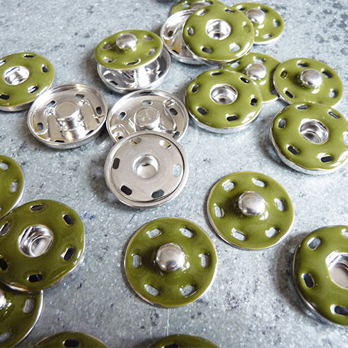 metal sew on snaps green silver