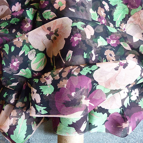 silk chiffon violet floral on black