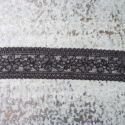 Solstiss Lace : Floral Galloon - Black