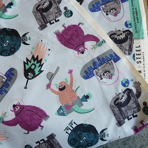 Cotton + Steel : Across the Universe - Spaced Out Periwinkle monsters quilting cotton