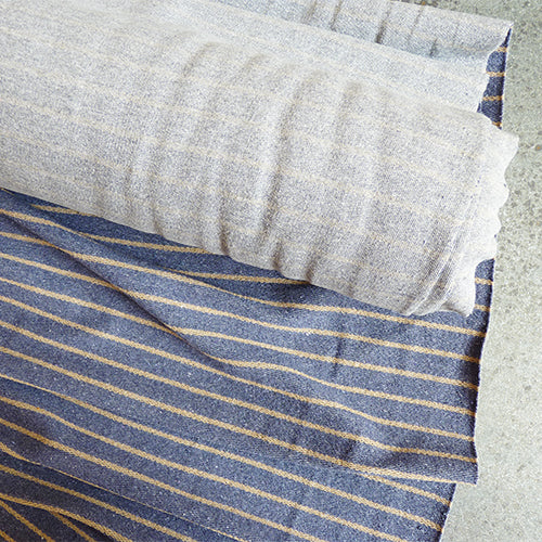 Organic Cotton / PET Striped Terry Knit - Heathered Grey / Denim Thumbnail