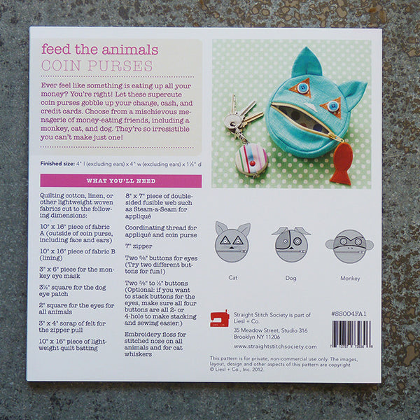 Straight Stitch Society : Feed the Animals Coin Purses sewing pattern back