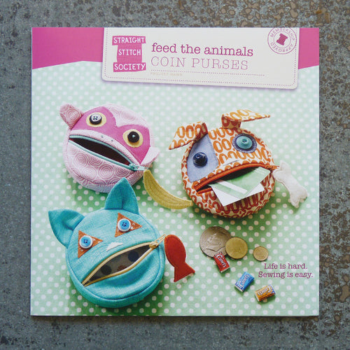 Straight Stitch Society : Feed the Animals Coin Purses sewing pattern front