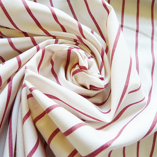 Striped Cotton Shirting - Maroon Thumbnail