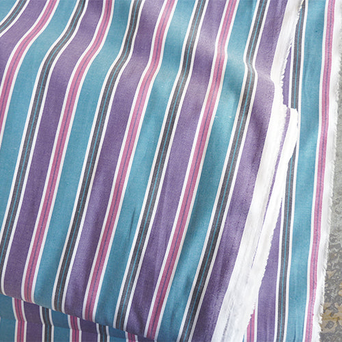 striped oxford cotton shirting pink purple teal
