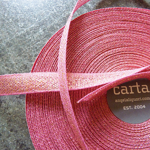 studio carta metallic loose weave ribbon fuchsia gold