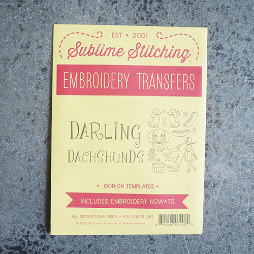 sublime stitching embroidery transfer pattern wiener dogs dachsunds