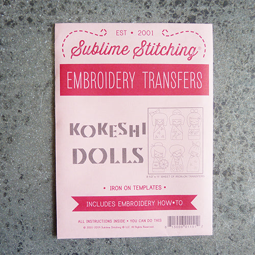 sublime stitching embroidery transfer pattern japanese kokeshi dolls