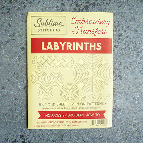 sublime stitching embroidery transfer pattern labyrinths mazes