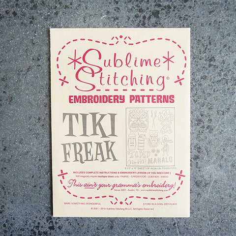 sublime stitching embroidery transfer pattern tiki