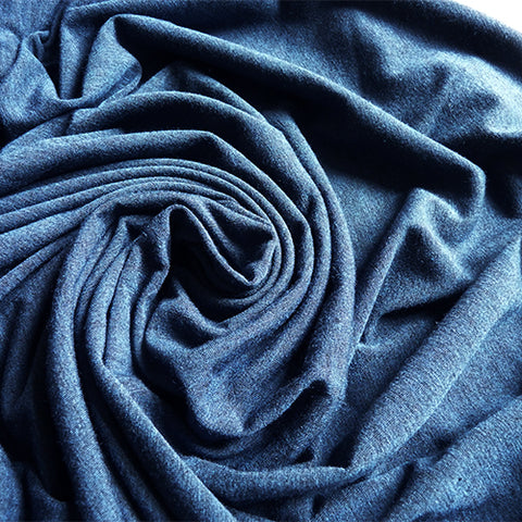 tiss et teint heathered blue polyester viscose jersey fabric