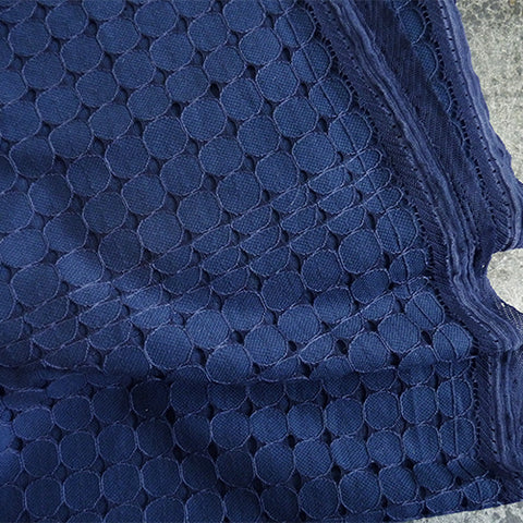 circle polka dot eyelet cotton nylon navy blue