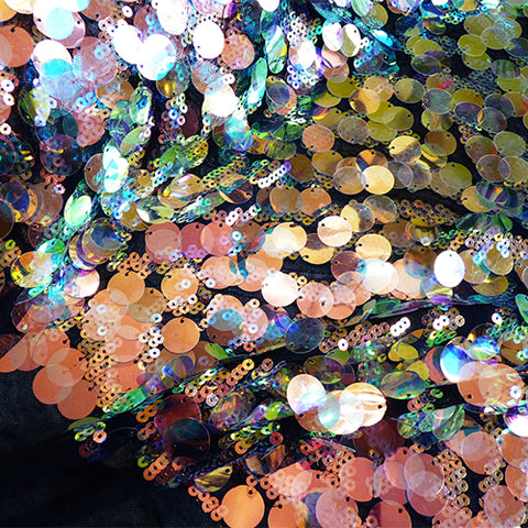 iridescent sequin paiet net tulle copper multicolor