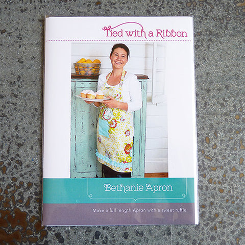 tied with a ribbon bethanie apron sewing pattern