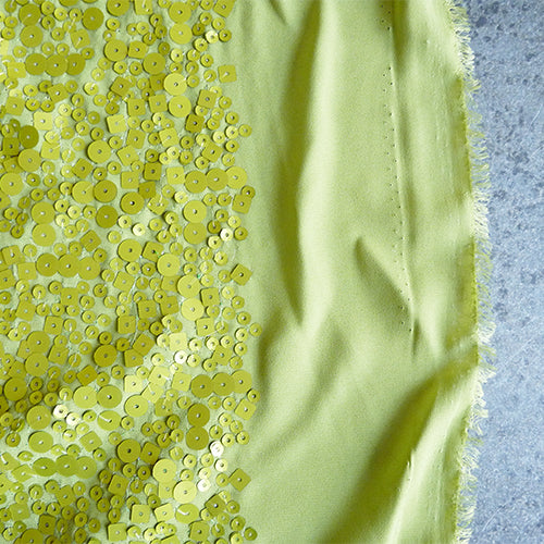sequin georgette polyester chartreuse green