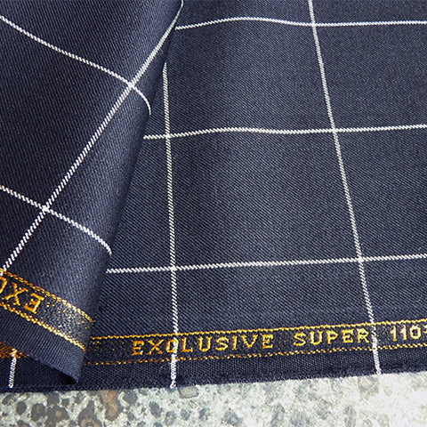 super 110s navy wool suiting