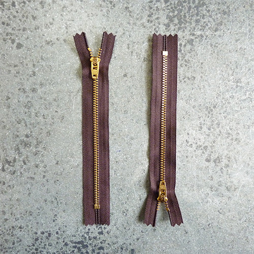 ykk 6in zipper brown brass