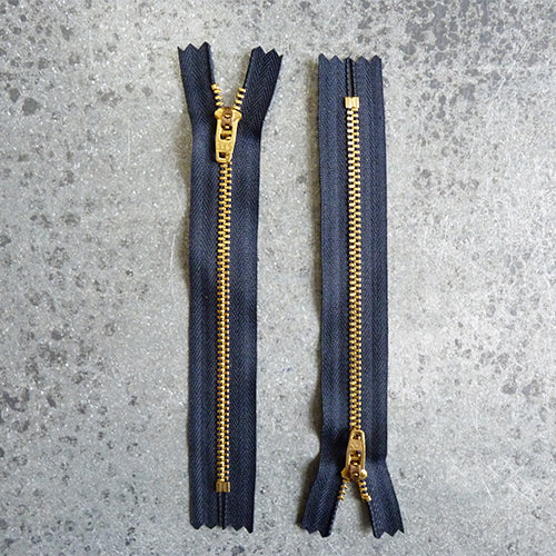 ykk 6in zipper navy brass