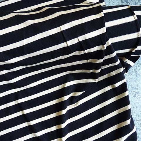 Dynomite Striped Viscose Jersey fabric - Black / Sand