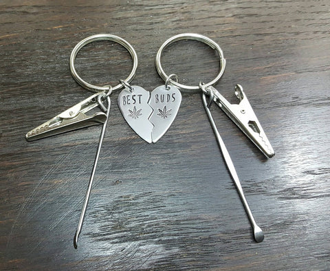 Best Buds Broken Heart Key Chain Set in Aluminum