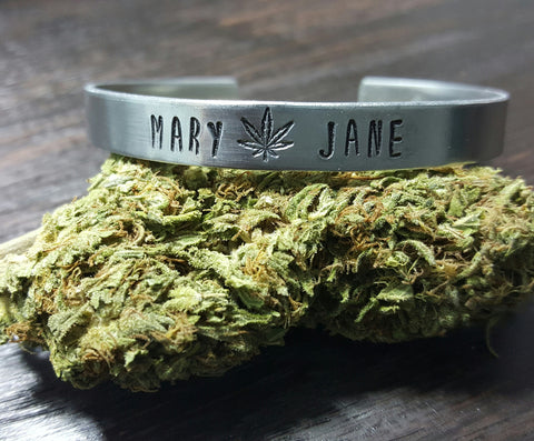 Mary Jane Hand Stamped Aluminum Cuff