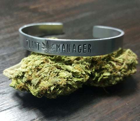Plant Manager Grower Hand Stamped Aluminum Cuff