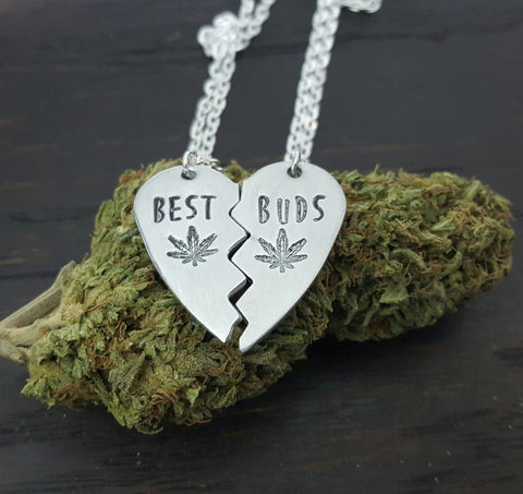 Best Buds Broken Heart Necklace Set in Aluminum