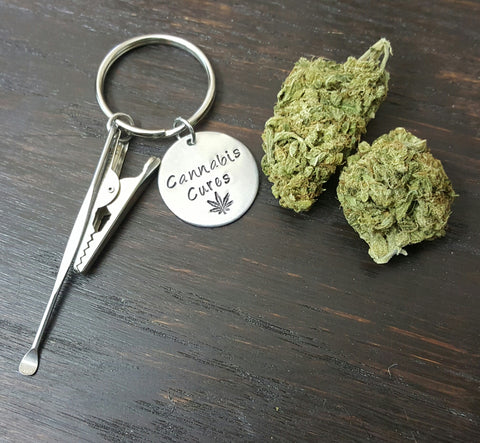 Cannabis Cures Keychain with Roach Clip and Dab Tool