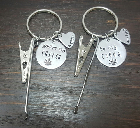 you're the Cheech, to my Chong cannacouple keychain set