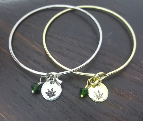 Cannabis Stamped Charm Bracelet