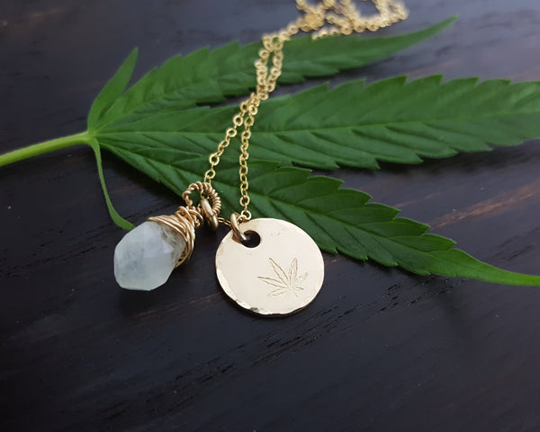 Cannabis Leaf Stamped Disc Necklace with Wire Wrapped Moonstone Necklace, handmade by The Toke Shop