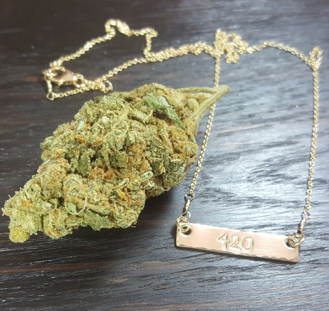 14k Gold 420 Stamped Bar Necklace
