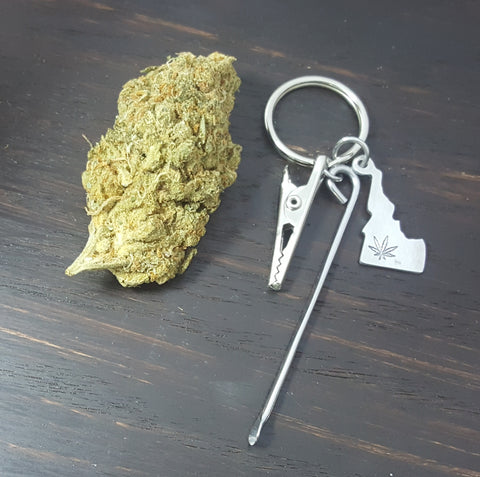Idaho State Key Chain with Smoking Tools