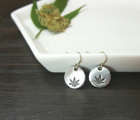 Cannabis Leaf Stamped Dangle Earrings