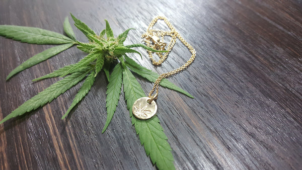 14k Gold Dainty Stamped Cannabis Leaf Necklace
