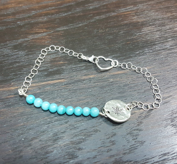 Sterling silver cannabis leaf stamped blue agate gemstone bracelet