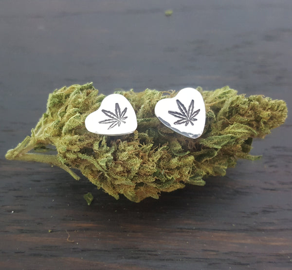 Sterling Silver Sweetheart Stud Earrings with Cannabis Leaf