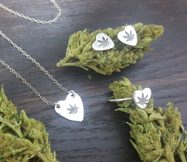 Sterling silver sweetheart cannabis Jewelry set