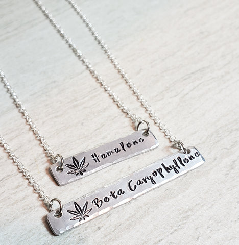 Cannabis terpene handstamped bar necklace